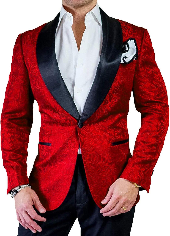 Everbeauty Floral Tuxedo Blazer for Men Wedding Slim Stylish Jacquard Suit Dinner Jacket EXZ066