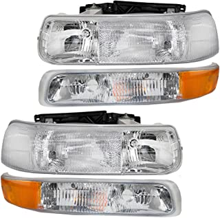 4 Pc Set of Headlights & Side Signal Marker Lamps for Chevrolet Pickup SUV 16526133 16526134