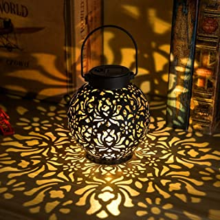 Outdoor Solar Hanging Lantern Lights Metal LED Decorative Lamp for Garden Patio Courtyard Lawn and Table with Hollowed-Out...