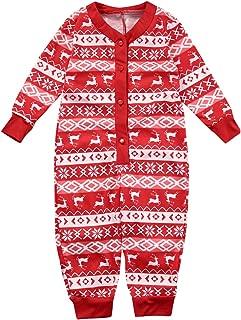 Christmas Matching Family Pajamas Set for Women Men Boys Girls Deer Red Jumpsuit Xmas 2Pcs Clothes Set