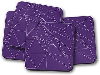 Posavasos morado con diseño geométrico de líneas blancas, posavasos individuales o juego de 4