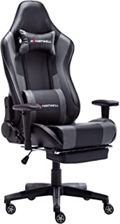 DANSITWELL Gaming Chairs for Adults, Ergonomic Adjustable Racing Chair with Footrest High Back Computer Chair with Headrest and Massage Lumbar Support (Grey)