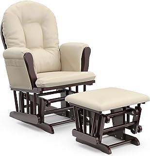 Storkcraft Premium Hoop Glider and Ottoman (Espresso Base, Beige Cushion) – Padded Cushions with Storage Pocket, Smooth Ro...
