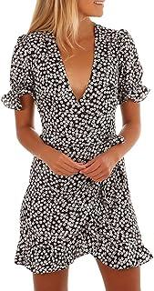 9721bad29e6 ALIKEEY Femmes Floral Imprimé à Manches Courtes col en V Robe d été Plage  Jupe