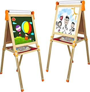 Tableau Enfant Magnetique Jouet Bois- 3 en 1 Multifonctions Double Face Tableau Noir et Blanc avec Papier en Rouleau et Ac...