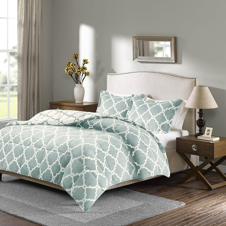 Sleep Philosophy True North Peyton Reversible Plush Comforter Mini Set, King, Aqua
