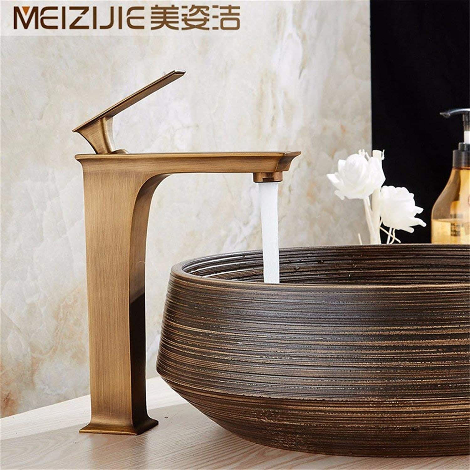 Creative copper hot and cold faucet basin faucet square retro (color   -, Size   -)