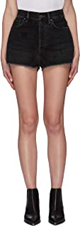 FY-Women's Stretchable Fitted Shorts with Frayed Hem Black