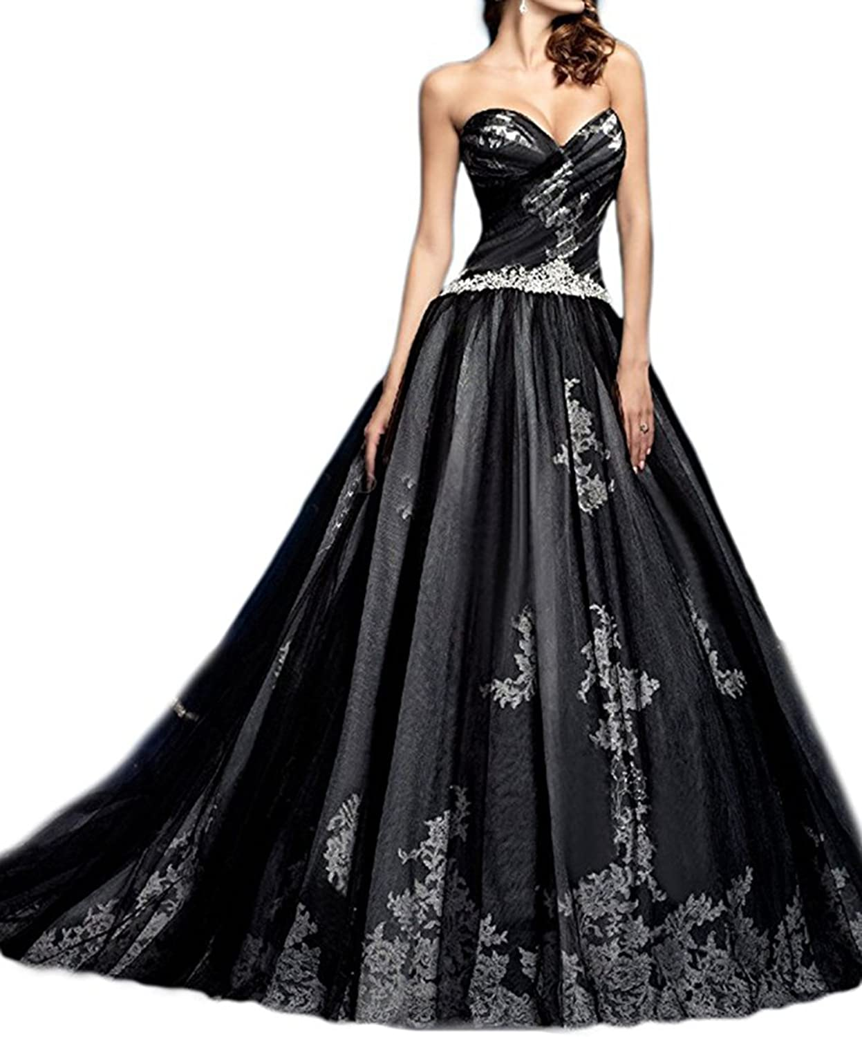 Homdor Women Sweetheart Mermaid Prom Evening Dress 2017 Long Lace Formal Gown