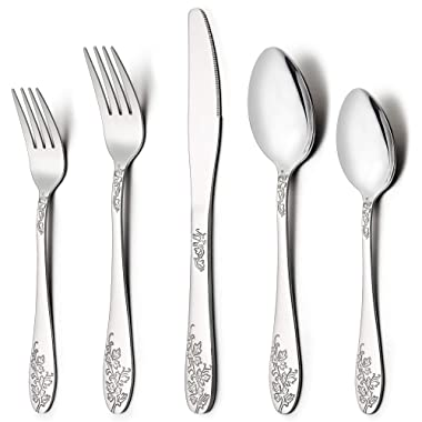 LIANYU 40-Piece Silverware Flatware Cutlery Set for 8, Stainless Steel Kitchen Restaurant Party Tableware Eating Utensil Sets, Vine Pattern, Mirror Finish, Dishwasher Safe