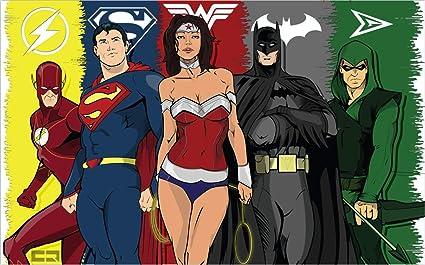 Justice League Affiche Autocollant Super Heros Superman Batman Wonder Femme Fond D Ecran H 300 W 210cm Un Amazon Fr Bricolage