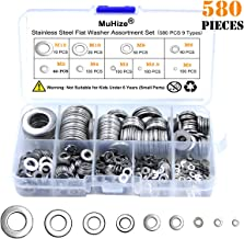 304 Stainless Steel Flat Washers - Muhize 580 PCS Washers Assortment Kit (9 Sizes, M2 M2.5 M3 M4 M5 M6 M8 M10 M12), Automotive Marine Hardware Set