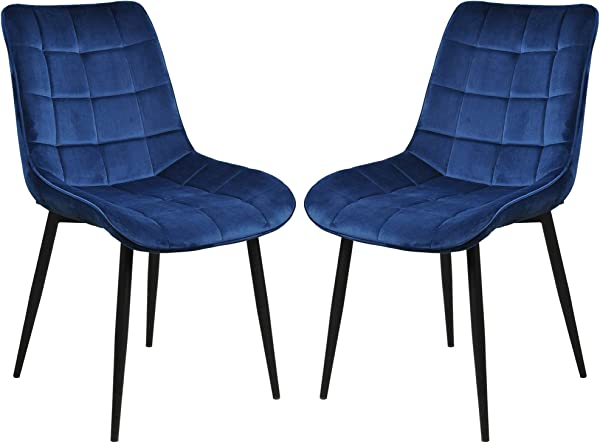 Velvet Dinning Chairs Upholstered Side Chair With Metal Legs Monder Accent Chairs For Home Kitchen Waiting Room Set Of 2 Blue