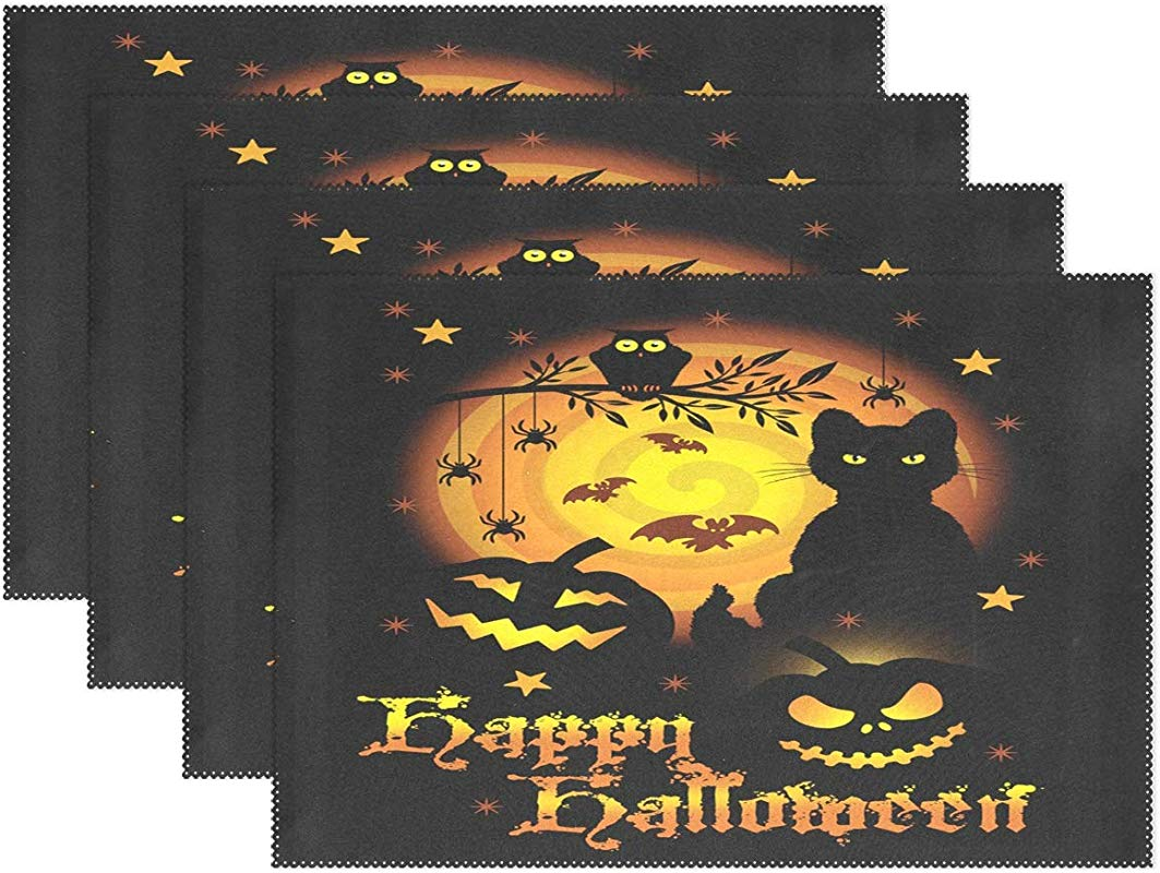 Happy Halloween Pumpkin Ghost Black Cat Bat Placemats Set Of 6 Table Mat Autumn Fall Owl Tree Castle Moon Table Mats Placemat Heat Stain Resistant Washable For Kitchen Dining Decoration 12 X 18