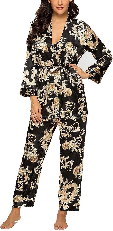 1920s Nightgowns, Pajamas and Robes History LAPAYA Womens Satin Pajama Sets Elegance 3pcs Silk Robe Set Sexy Cami Nightgown PJ Sleepwear  AT vintagedancer.com
