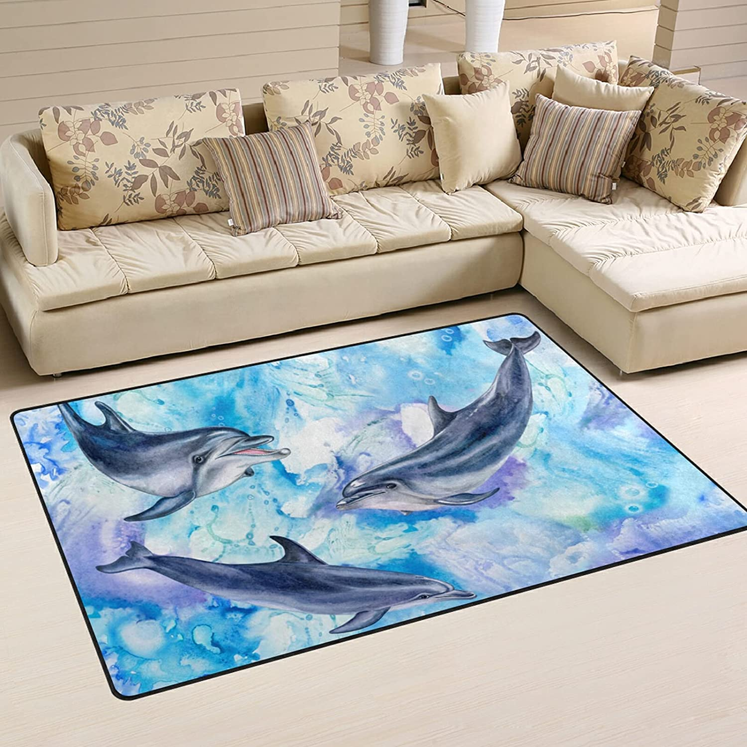 Sea Industry No. 1 Blue Dolphins Large Soft Area Rug f Mat Rugs Playmat Ranking TOP18 Nursery