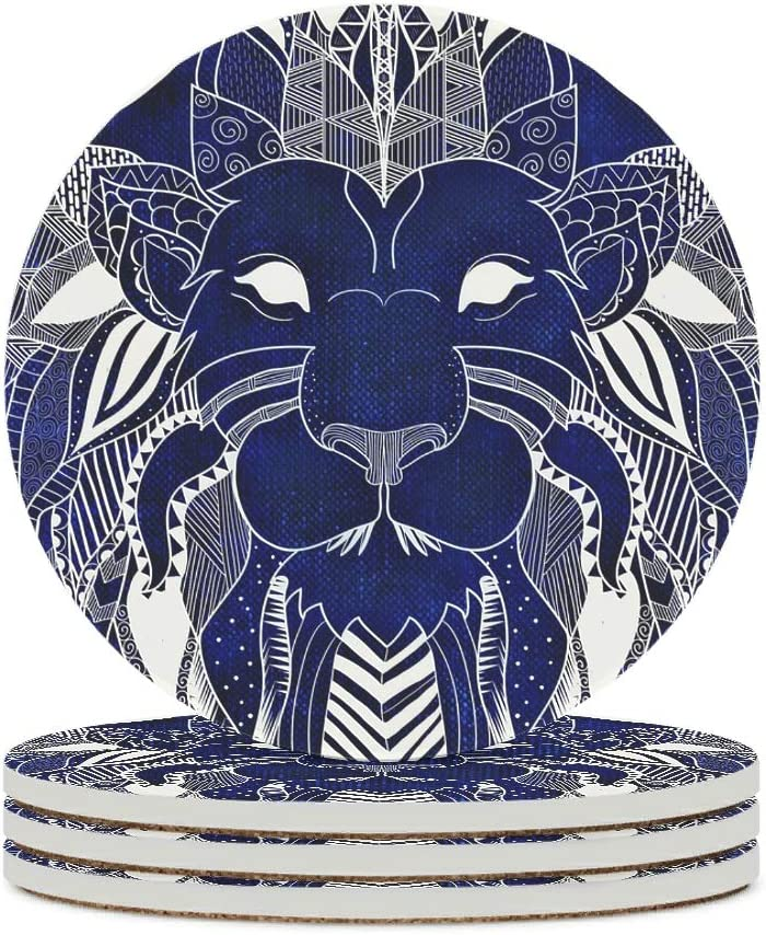 Alskyonyg Max 61% OFF Lion Head Totem Ceramic 2021new shipping free Coaster Base W Cork Round with