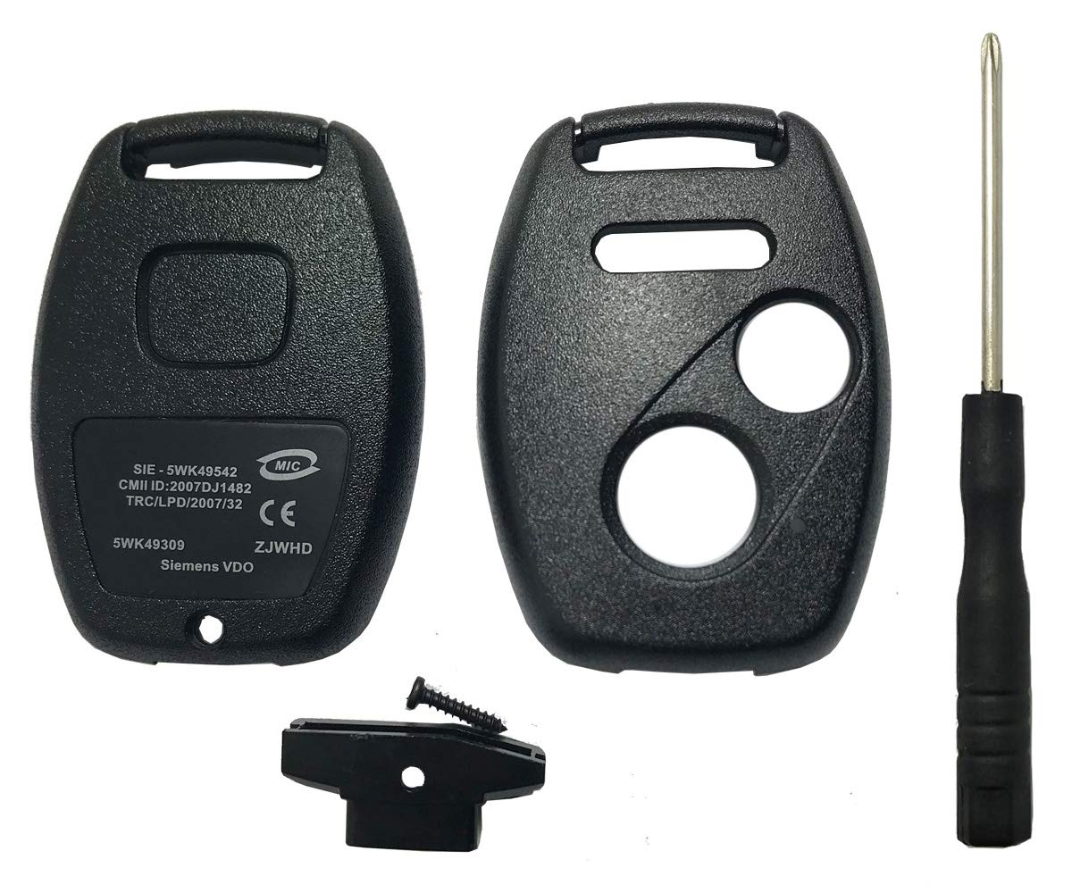 RI-KEY SECURITY Flip Key Modified Case Shell for Honda Remote Key Fit Accord Civic CR-V CR-Z Fit Insight Odyssey Ridgeline Pilot Keyless Entry 3 Buttons FOB Replacement Conver