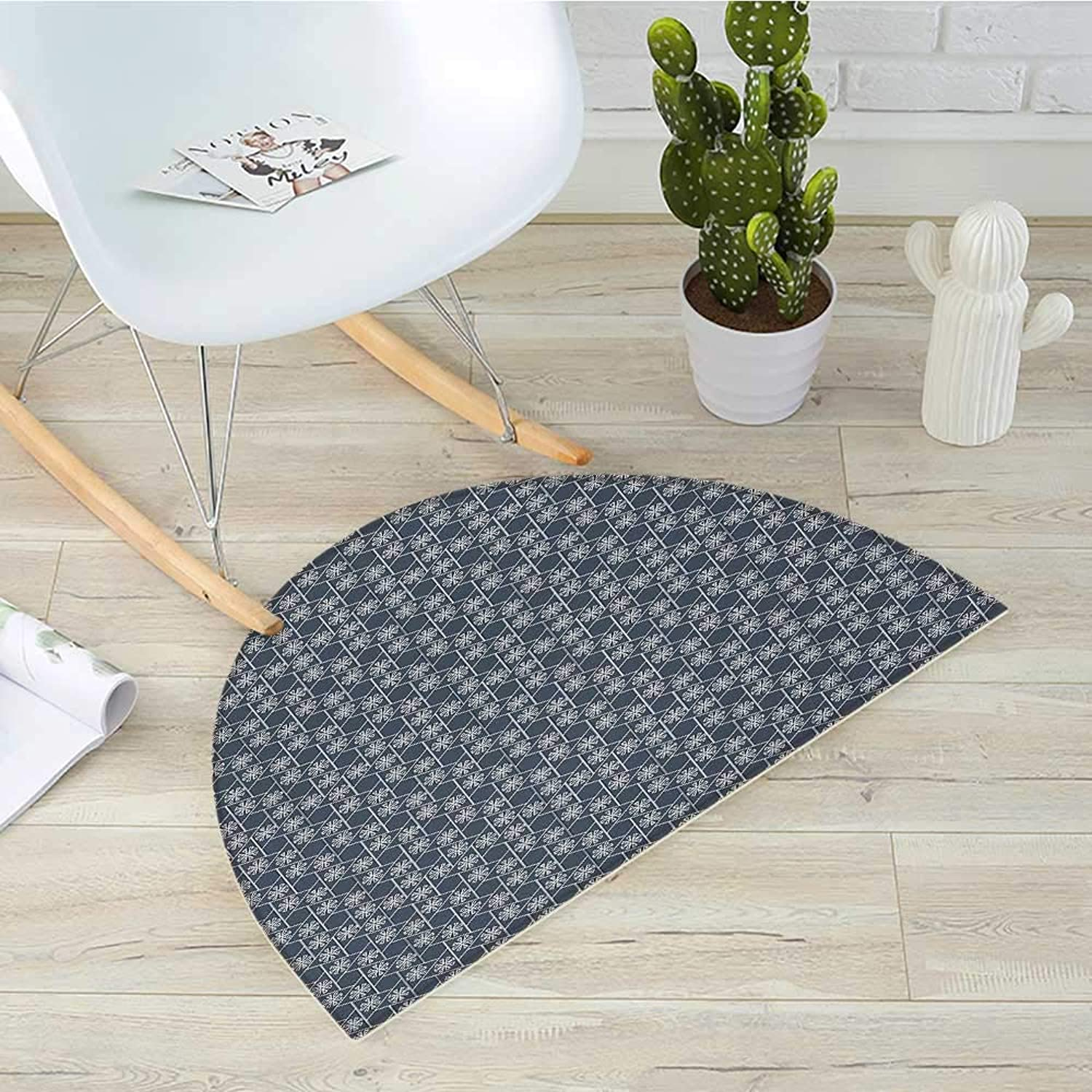 Japanese Semicircular CushionHexagons Triangles with Spring Flowers Eastern Geometric Tile Entry Door Mat H 39.3  xD 59  Charcoal Grey Dark bluee White