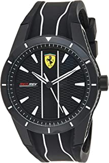 Ferrari Mens Quartz Watch, Analog Display and Silicone Strap 830495
