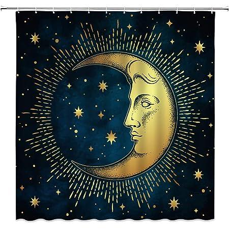 Golden Mandala Shower Curtain Set Moon and Star Bathroom Accessories 71x71/'/'