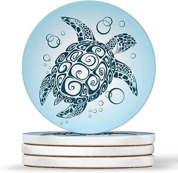 AK Wall Art Sea Turtle Ocean Beach Design Design Round Coasters Natural Sandstone Set Of 4
