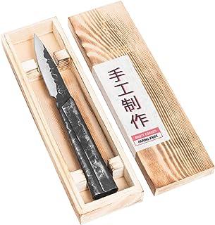 Forged Brute - Cuchillo para pelar (9 cm, hecho a mano, en caja de madera)