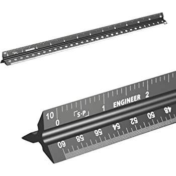Engineering Scale Ruler (Laser-Etched) Solid Aluminum Core | 12 Inch Triangular Engineer Ruler with Imperial Measurements