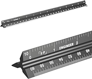 Engineering Scale Ruler (Laser-Etched) Solid Aluminum Core   12 Inch Triangular Engineer Ruler with Imperial Measurements