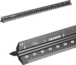 Engineering Scale Ruler (Laser-Etched) Solid Aluminum Core | 12'' Triangular Engineer Ruler with Imperial Measurements