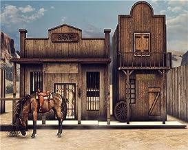 AOFOTO 10x8ft Vintage Turkey Farm Backdrop Western Street Wooden Building Cowboy Town Bank Horse Barn Photography Backgrou...