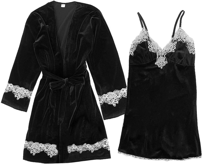 Frunalte 4PC Womens Silky Satin Robes Set,Women Kimono Robe Nightdress Cami Top and Shorts Bathrobe Sleepwear Pajamas Set