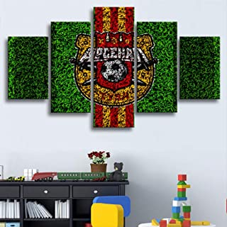 ARTZHUA Wall Art 5 Pieces Canvas Paintings American Football 11Barcelona Flag Logo Posters 5 Pieces Football Canvas Paintings Wall Art Prints Pictures Boys Sports Bedroom Decoration Frame