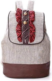 N-B Chinese Retro Style Women Canvas Backpack Ethnic Backpacks Drawstring Backpack Girl Shoulder Bags