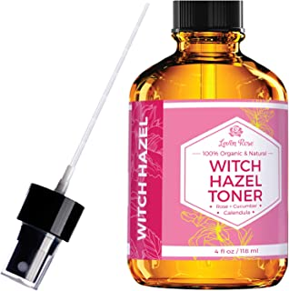 Witch Hazel Toner by Leven Rose, 100% Pure Organic Facial Rose Water with Rose Petals, Calendula, Cucumber, and Chamomile Flower 4 oz