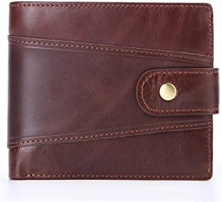 Genuine Leather Wallet for Man RFID Blocking Top Layer Cowhide Cow Leather Buckle Zipper Purse Men Cool (Color : Brown, Size : S)