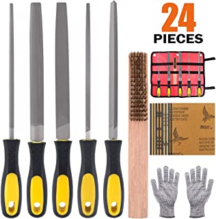 Rustark 24 Piece High Carbon Metal File Set, 4 Flat/Half-round/Round/Triangle/Square Files,16 pcs Sandpaper, Protective Gloves, Cleaning Brush with Carrying Bag for Sharpening, Whittling, Shaping