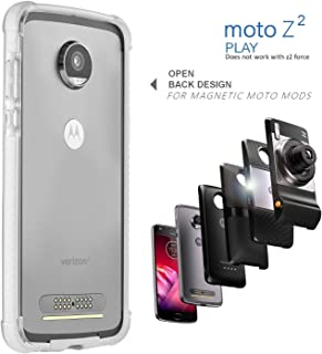 Moto Z2 Play Case Bumper - Mod Compatible (Does not Work with Other Models Moto Z2 Force, Moto Z, Z Force, and Z Play 1st gen) Ademite (White)