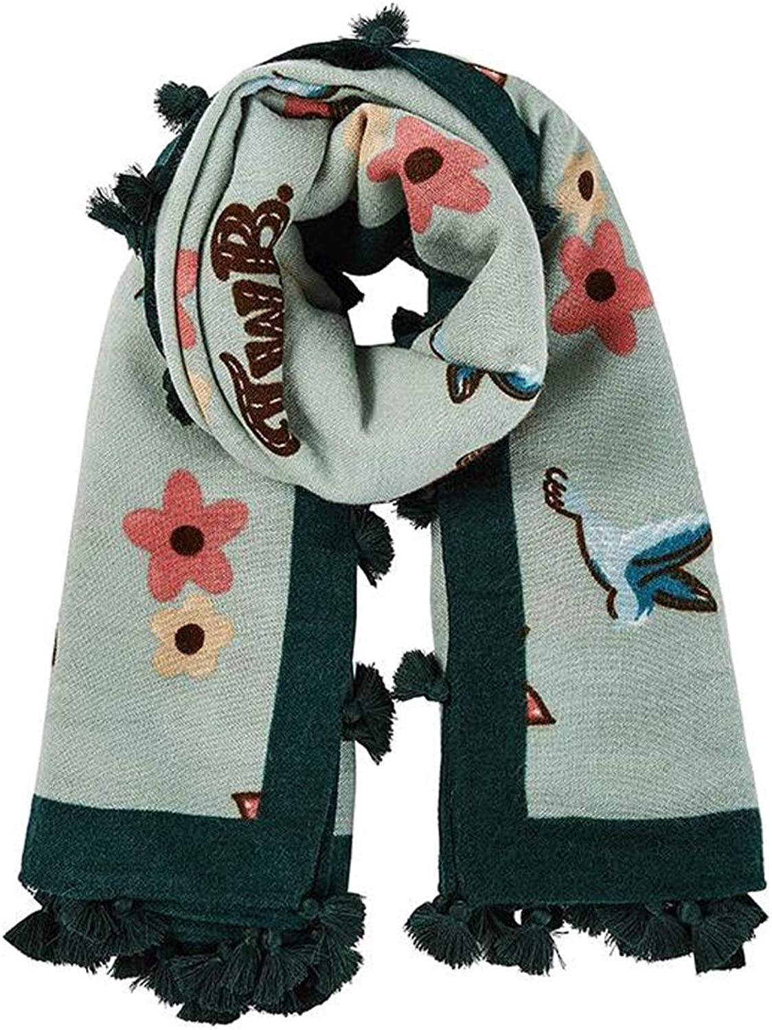 JUN New Ladies Scarf Autumn and Winter New Print Thickening Warm Casual color Diversity (color   C)