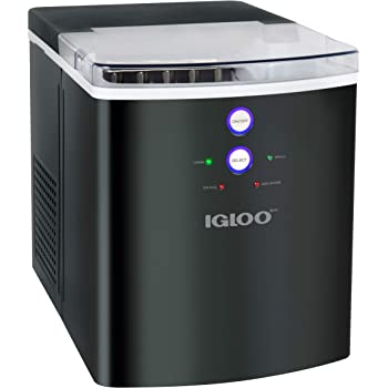 Igloo ICEB33BS Large-Capacity Automatic Portable Electric Countertop Ice Maker Machine, 33 Pounds in 24 Hours, 9 Ice Cubes Ready in 7 minutes, With Ice Scoop and Basket, Black Stainless Steel