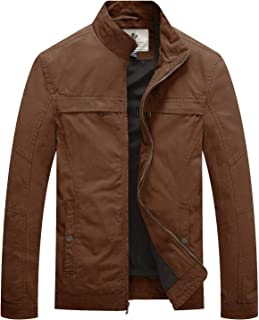 Sponsored Ad - WenVen Men's Military Jacket Lightweight Cotton Stand Collar Casual Utility Coat