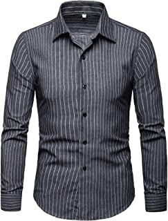 Comaba Men Striped Single Breasted No Iron Button Down Dress Shirt