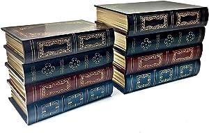 Bellaa 25419 Book Box Bookends Hidden Storage Set of 2 Wood 8 inch