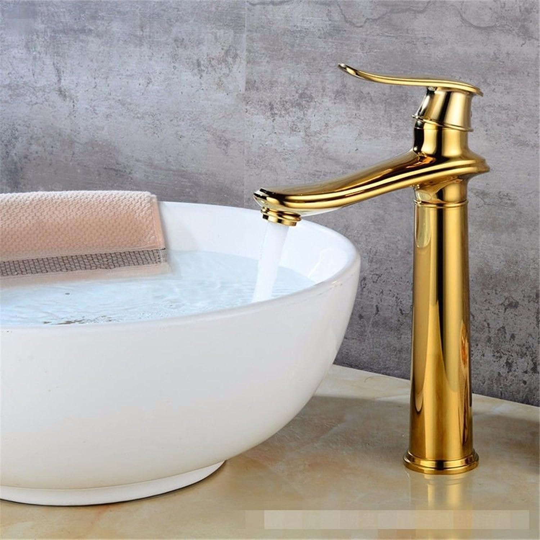 Gyps Faucet Waschtisch-Einhebelmischer Waschtischarmatur BadarmaturModerne Gold Einzelne Bohrung Einzigen Griff Kaltes Wasser Keramik Ventil Waschtischmischer Hoch,Mischbatterie Waschbecken