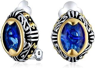 "New Cobalt Blue Feather Earrings 4/"" Women Crystal Post"