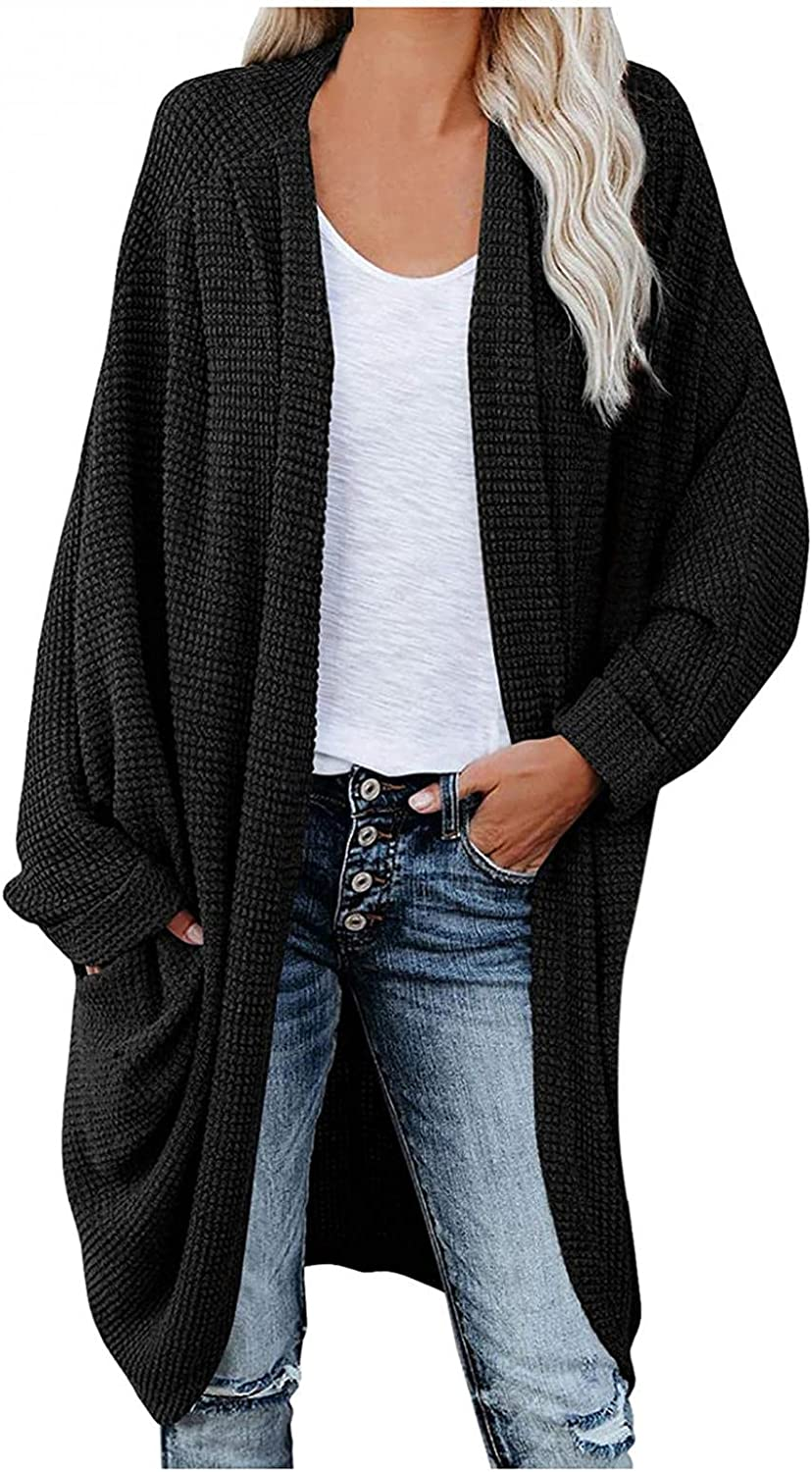 Eduavar Sweaters for Women Cardigan Long Sleeve Fall Knit Sweater Open Front Cardigan Tops Comfy Casual Loose Outerwear