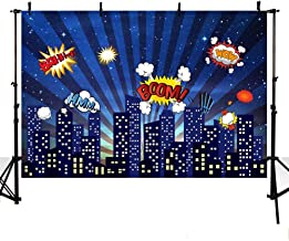 MEHOFOTO Super Hero Themed Photo Background City Building Dark Blue Sky Boom Cloud Boy Birthday Party Banner Backdrop for Photography 7x5ft