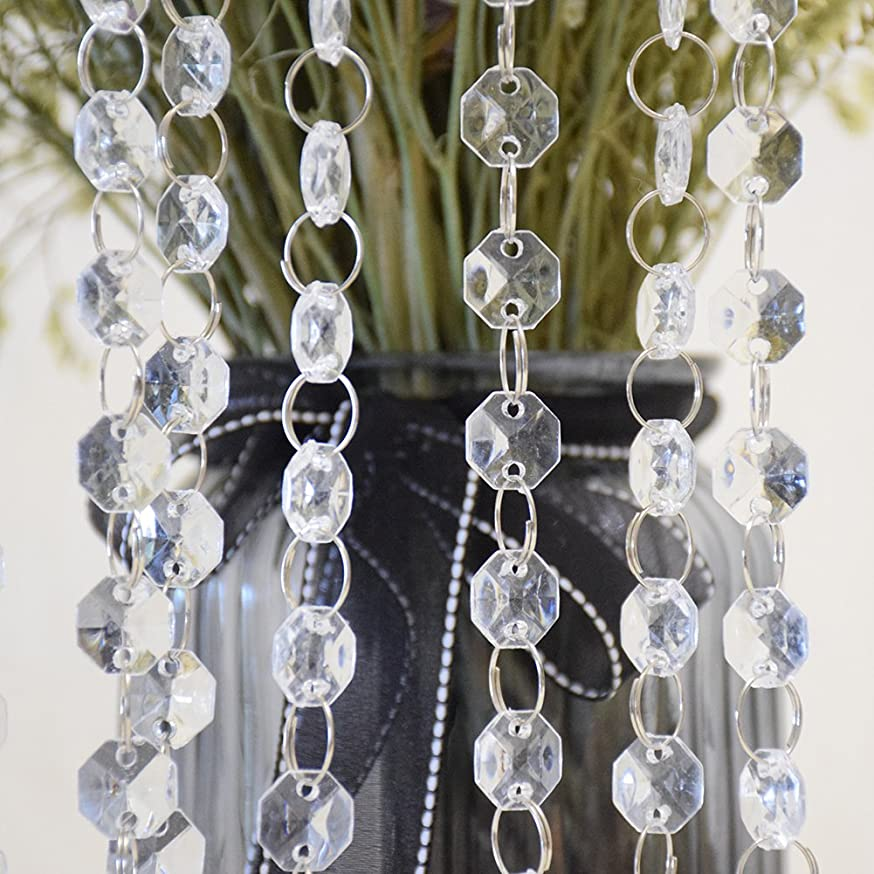 Xmada 10M/33FT Crystal Diamond Acrylic Bead Garland Strand Curtain Wedding DIY Party Decor eclzyzyovcuhy574