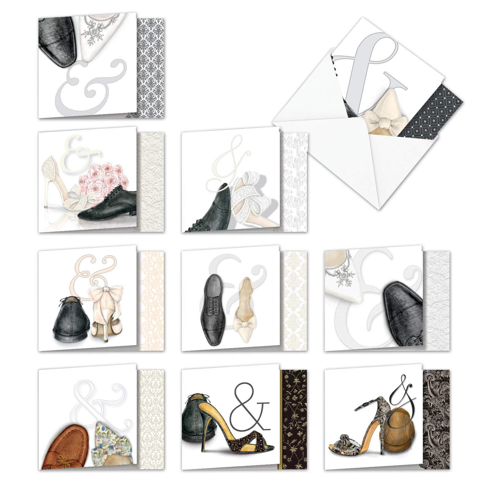 """AMQ5068WYG-B1x10 单单只 - 婚礼 谢谢:10 张新""""方形上""""贺卡,特色男女结婚鞋配对,信封(10 种设计,尺寸:10.16 x 12.70 厘米)"""