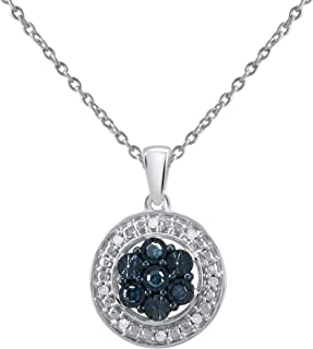 Silver Necklace Round Pendant for Women (I2-I3 Clarity) White and Treated Blue Diamond Necklace with 18